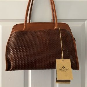 New Patricia Nash Woven Paris Brown Leather Tote